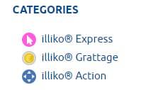 Les catégories des jeux de la gamme illiko