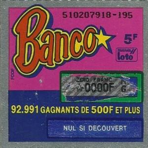 jeu à gratter banco 1990