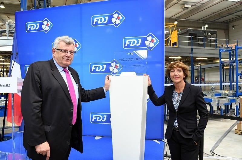 Stéphane Pallez et Christian Eckert à l'inauguration du nouvel entrepôt FDJ