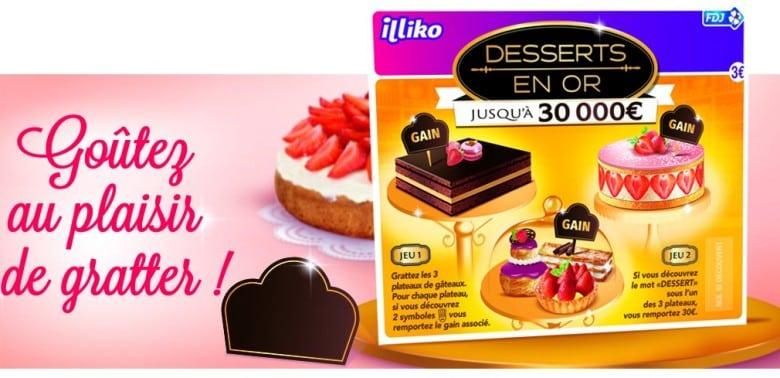 Desserts en Or-nouveau ticket à gratter FDJ et olfactif