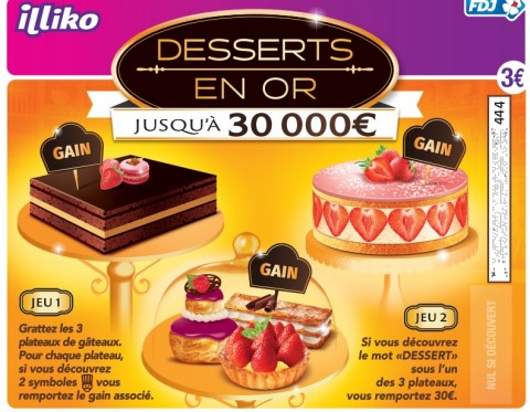 ticket de grattage desserts en or illiko