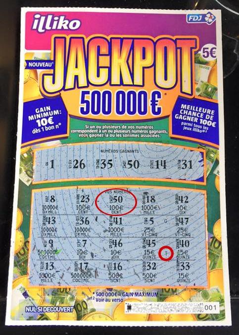 Lettres gagnantes et ticket à gratter JACKPOT 500 000