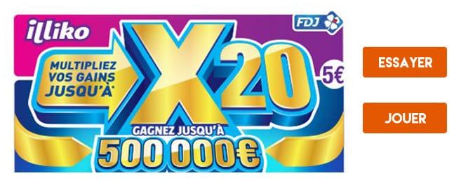 Jouer ou essayer le jeu à gratter X20
