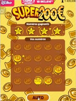 20 € de gagné grâce au jeu illiko Super200