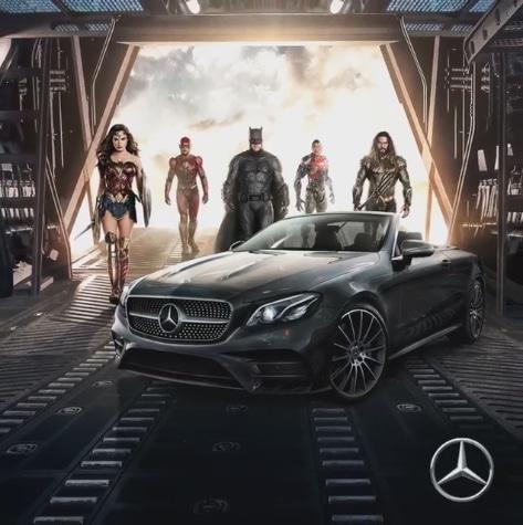 publicité Mercedes avec les super-héros de Justice League