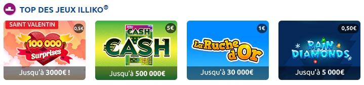 Classement actuel des 4 jeux les plus joués sur le site FDJ