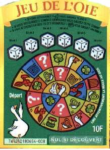 Ticket à gratter de 2001 : Jeu de l'oie à 10 F