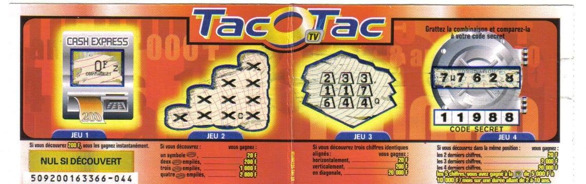 Jeu à gratter TAC O TAC 1998