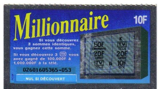 une des premières version du jeu à gratter Millionnaire