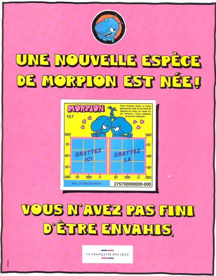 Publicité du jeu à gratter Morpion de 1995