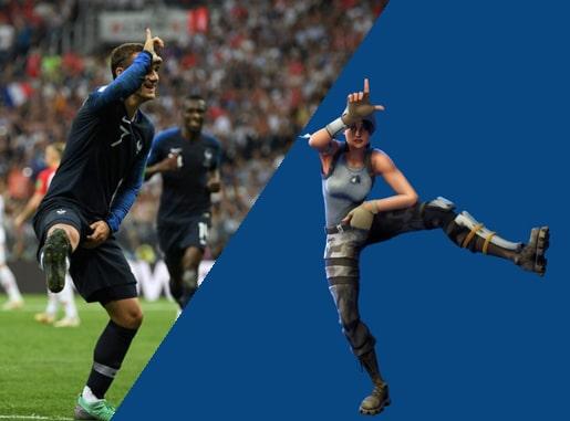 danse de FORTNITE Take the L  Griezmann en finale de Coupe du Monde de Football en 2018 face à la Croatie