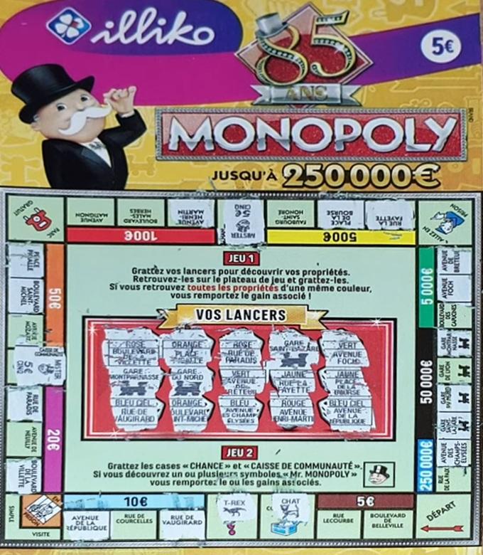Ticket à gratter Monopoly FDJ