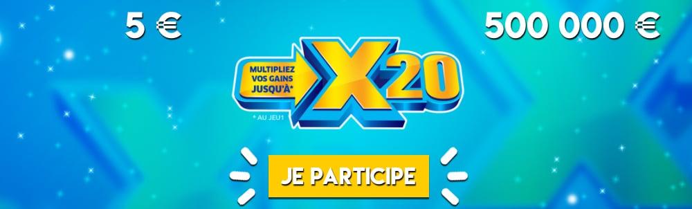 Le jeu X20 à coefficient multiplicateur